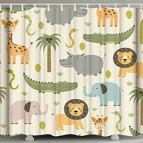 AKDSteel Nette Karikatur-Tierdruck-Polyester-wasserdichte Duschvorhänge für Badezimmer Zoo 180 * 180 cm