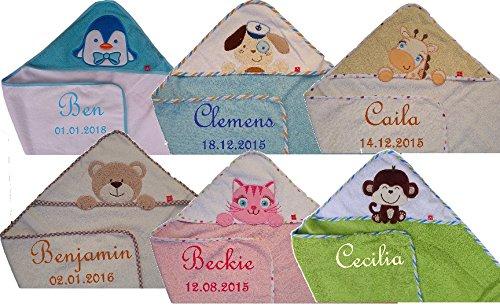 *Baby Kapuzenhandtuch mit Namen bestickt 75 x 75 cm mit Motiv (weiß mit Pinguin)*