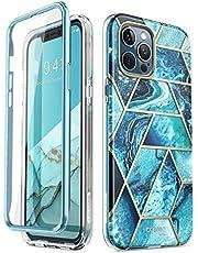 i-Blason iphone 12 pro max skal [Cosmo Series] Fodral med Inbyggt Skärmskydd Skyddande Silikonskal för iphone 12 pro max (Blå)