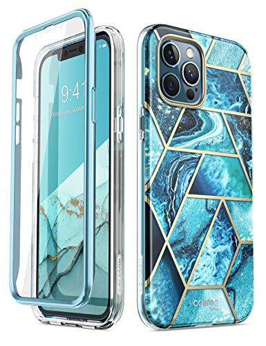 i-Blason Cosmo Series Case Cover for iPhone 12 Pro Max 6.7 inch (2020 Release), Slim Full-Body Protective Case Cover with Built-in Screen Protector (Ocean)