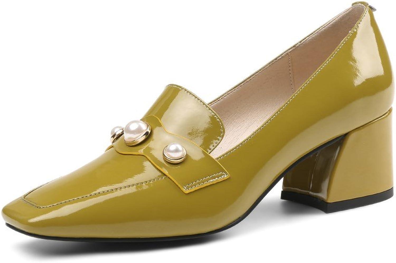 Nine Seven Patent Leather Women's Square Toe Mid Chunky Heel Slip On Handmade Graceful Pumps