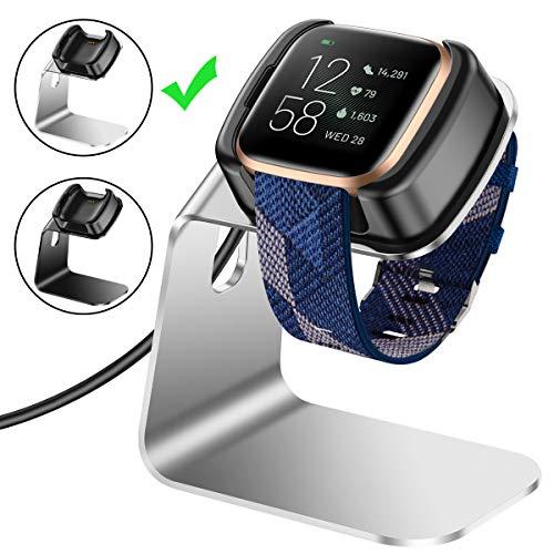 CAVN Compatibel met Fitbit Versa 2 Oplader (niet voor Versa & Versa Lite), Premium Aluminium Vervangende Oplader Dock Oplader Stand Oplader Kabel Station voor Fitbit Versa 2, ZILVER