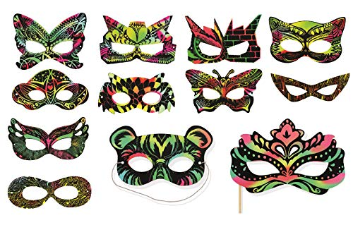 VHALE 24 Sets Rainbow Scratch Paper Art Superhero Masks, Dress Up Halloween Costumes, Creative Classroom Arts and Crafts, Fun Drawings, Travel Toys, Party Favors for Kids