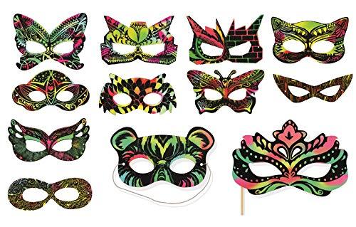 VHALE 24 Set Rainbow Scratch Art Superhero Mask Kid Dress Up Costume Party Favor