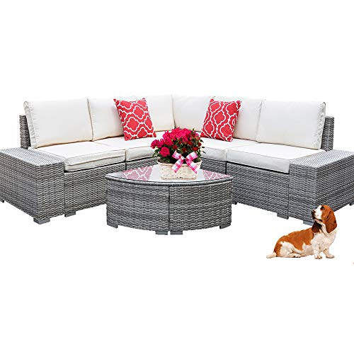 6 Pieces Outdoor Manual Weaving Patio Wicker Rattan Sofa Conversation Set, Sectional Furniture Sets with Comfortable Cotton Cushions and Glass Coffee Table(Plat Multi-Gray)