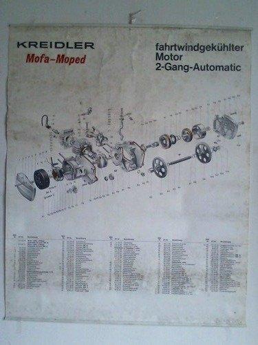 Schautafel/Lehrmitteltafel: Kreidler Mofa-Moped, fahrtwindgekühlter Motor 2-Gang-Automatic