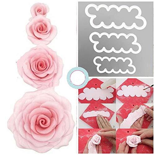 CHSYOO DIY torta Rose ausstecher, 3 dimensioni Cake Petalo Cutter fiori formine per biscotti set, Back accessori per decorare fondente torte marzapane