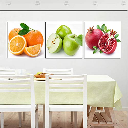 MMLFY 3 lienzos 40x40cm3pcs Sin Marco Fruta Cocina Comedor Pared Cuadros Decorativos Manzana Naranja Granada Moderna Impresión Pintura al óleo 3 Panel d