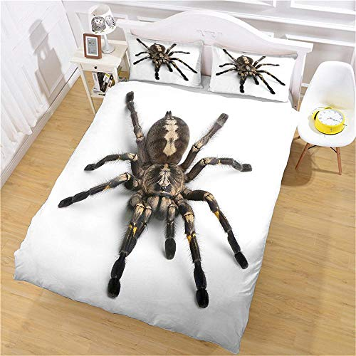 QNZOR Duvet Cover Sets Pillowcases Bedding King Big spider Print Polyester Breathable 2 pillowcases with Zipper Boys Girls Home Decoration 86.6 x 94.4 inch