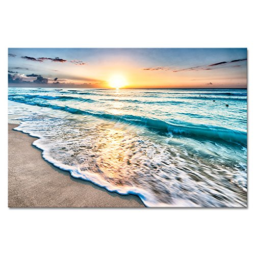 Wieco Art Sea Waves Large Canvas Prints Wall Art Ocean Beach Pictures Paintings Ready to Hang for Living Room Bedroom Home Decorations Modern Stretched and Framed Seascape Giclee Artwork