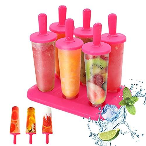 Eisformen, 6 ST Eiscreme Formen für Kinder Eislutscher Hersteller Eisform DIY Popsicle Formen Set Eisförmchen Eis am Stiel Formen, Perfekt für Kinder Baby und Erwachsene (Rot)