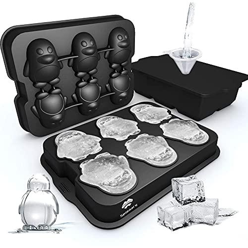 Splonary Eiswürfelform, 2 Stück Groß Silikon Eiswürfelform mit Deckel Ice Cube, 1 Quadratische und 1 3D Pinguinform 6-Fach Eiswürfelformen, Eiswürfel für Whisky Cocktail Fruchtsaft Schokolade, Schwarz