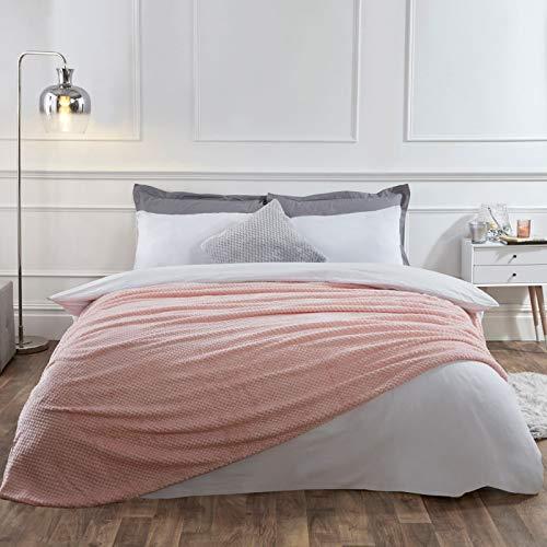 Dreamscene Manta diseño de Panal de Abeja cálida para sofá Cama, 125 x 150 cm, Color Rubor, 100% poliéster, Suave Piel sintética, Rosa encarnado, Single - 125 x 150cm