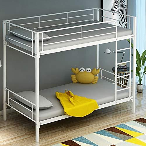 L.W.S Muebles de Dormitorio Litera de Metal de Doble Cama con Dos gemelas en Acabado Plateado Cama Individual