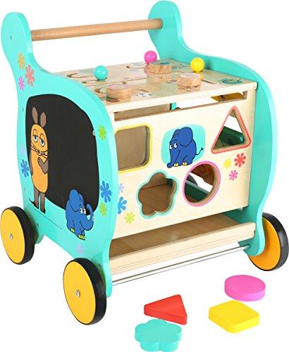 Small Foot Design 10495 Sendung Lauflernwagen aus Holz mit Motiven aus Der Maus vielseitiger Spielspaß für Kinder ab 2 Jahren, Lauflernhilfe zur Förderung der motorischen Fähigkeiten