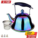 Rainbow Whistling Tea Kettle Stainless Steel Stovetop Teakettle Sturdy Teapot for Tea Coffee Fast Boiling with Infuser Color Rainbow Mirror Finish 2 Liter / 2.1 Quart (Rainbow)