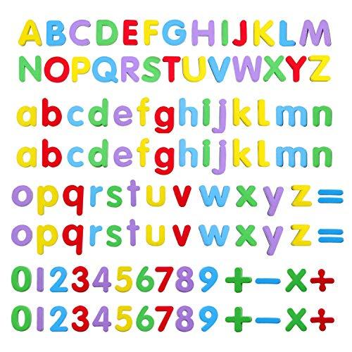 Lettres Chiffres Magnétiques,108 Pack Magnétiques Alphabet Majuscules et Minuscules Enfant Lettres Aimantées en EVA Numéros Magnétiques pour Jouet Educatif Multicolor