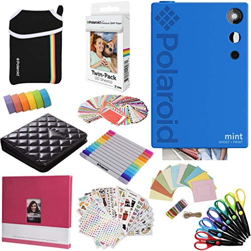 Polaroid Mint Instant Digital Camera (Blue) All-in-Bundle + Paper (20 Sheets) + Deluxe Pouch + Photo Album + 9 Unique Sticker Sets + Markers + Scissors + Border Stickers and So Much More