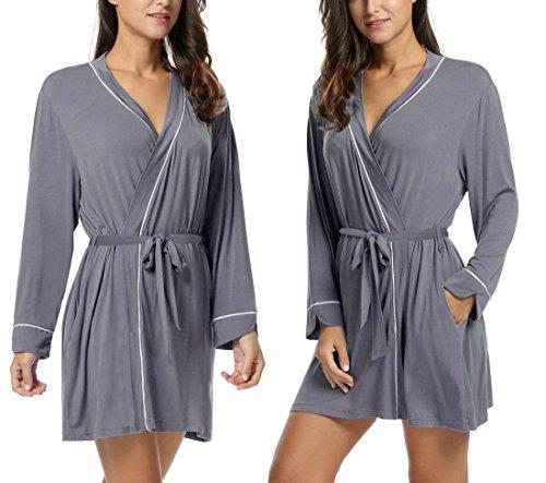 Dickin Womens Cotton Robe Soft Kimono Robes Knit Bathrobe Loungewear Sleepwear Short(Gray,L)