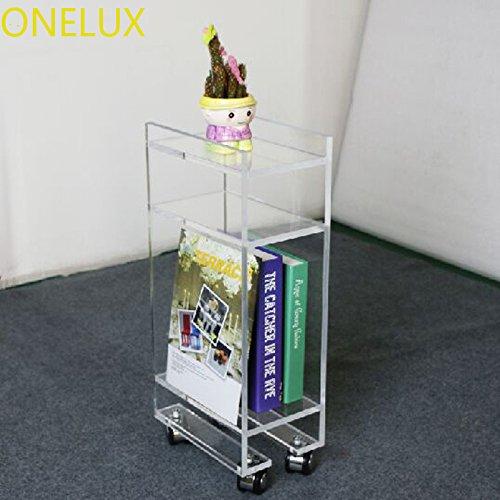 Acrylic Lucite Rolling Magazine/Telephone Table on Wheels