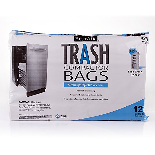 Price comparison product image BestAir WMCK1335012-6 Heavy Duty Trash Compactor Bags,  16'' D x 9'' W x 17'' H,  Pack of 1 (12 Bags)