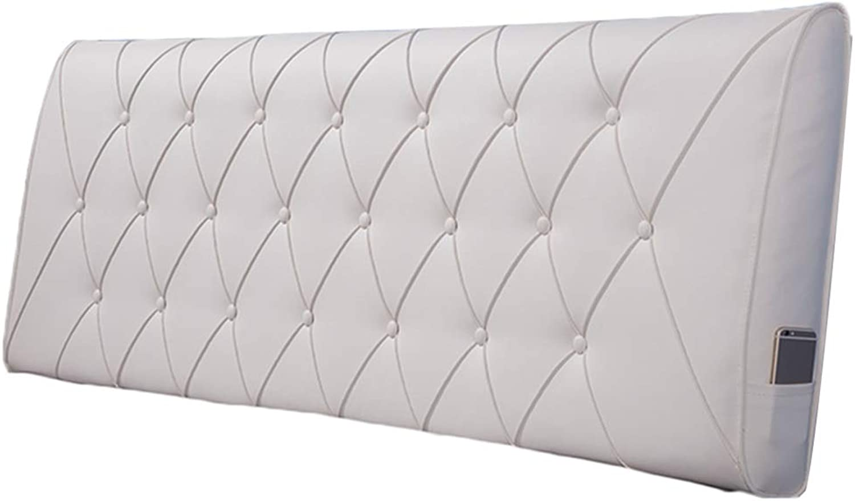 WENZHE Upholstered Fabric Headboard Bedside Cushion Pads Cover Bed Wedges Backrest Waist Pad PU Washable Soft Case Home Bedroom Waist Belt Backrest, 5 colors (color   E, Size   90x60x11cm)