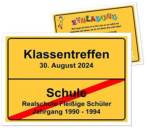 Unser-Festtag Klassentreffen Gelbes Ortsschild Tolle Einladungen, für jede Schuform geeignet, Text kann geändert werden - 5 Karten - DIN A5