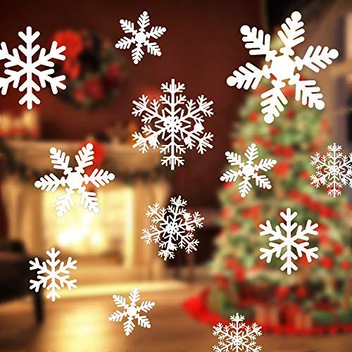 Fensterbilder Weihnachten,108 Stück Schneeflocken Fenstersticker,Statische PVC Aufkleber, Schneeflocken Fensterbild für Türen Schaufenster Vitrinen Glasfronten Deko