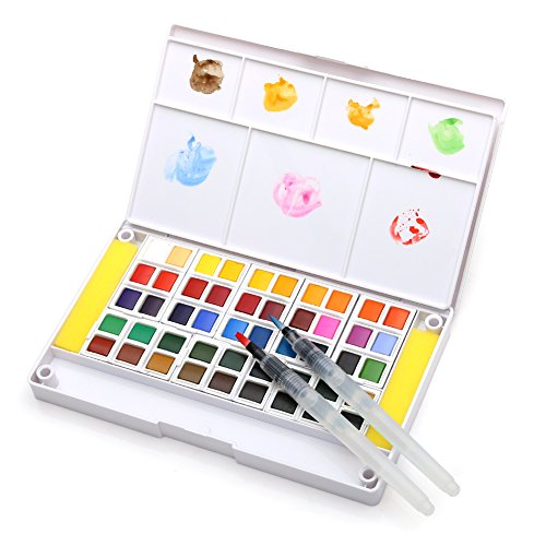Dainayw Watercolor Paint Set, Professional 48 Assorted Watercolors, Perfect Watercolor Pan Set, Travel Watercolor Kit Includes 2 Water Brushes, 2 Sponges & A Mixing Palette