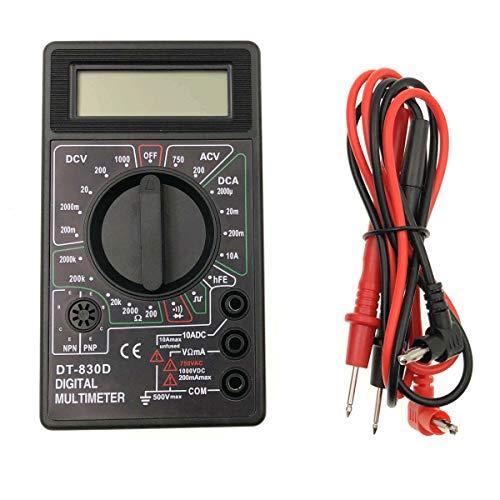 JZK DT-830D multímetro digital, retroiluminación LCD, instrumento medición corriente, voltímetro AC/DC, Amperímetro DC, ohmímetro, batería incluida