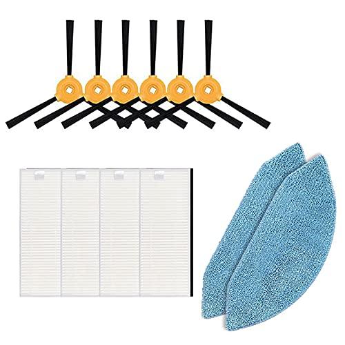 Ricambio per aspirapolvere robot Ecovacs Deebot U2 Pro, 6 spazzole laterali + 4 filtri + 2 panni per la pulizia