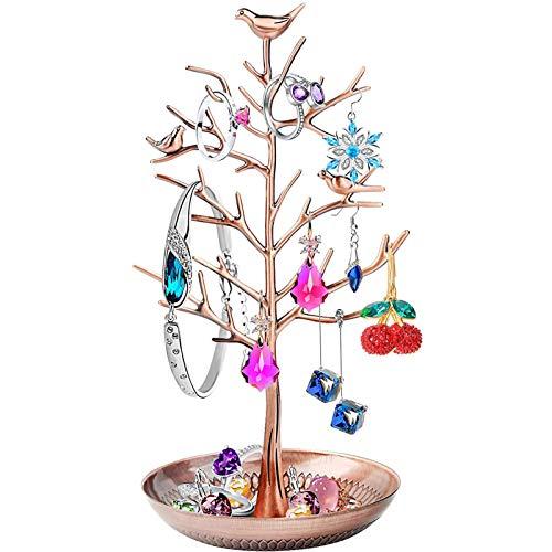 Exhibición/Soporte/Soporte de joyería - Nuevo Colgante de árbol de pájaros de Bronce Plateado Antiguo Collar Pulseras Porta Joyas Organizador Colgante Torre de Estante