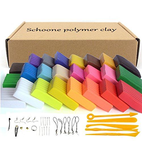 Polymer Ton 24 Farben Ofen backen DIY bunter Ton Sicher und ungiftig Weiche Modellierung Buntes DIY Spielzeug von Schoone, Bestes Geschenk für Kinder.