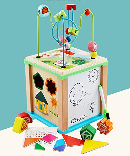 Juguete de Madera de Laberinto de Cuentas de Cubo de Actividades de Lujo, clasificador de Formas para niños pequeños, bebés, niños,Laberinto de Cuentas de Cubo,Cubo de Actividades de Madera 5 en 1