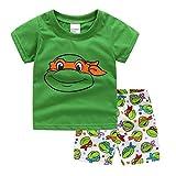 NING Little Boys Short Pajamas Sets Toddler PJS Set Cotton Kids Sleepwears (Ninja Turtles, 5T)