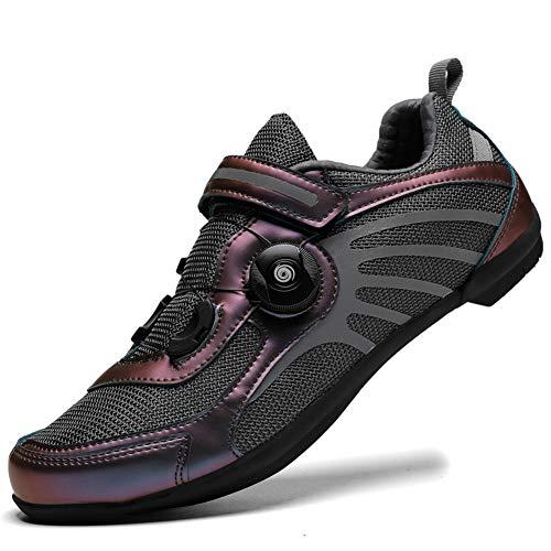 Charmstep Fahrradschuhe Herren Damen Anti-Skid Atmungsaktiv Radschuhe Rennradschuhe MTB Schuhe Flat Ohne Klicksystem,Rose Gold,44 EU