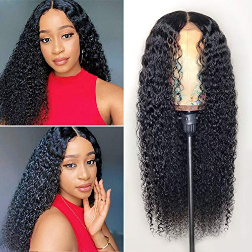 Human Hair Lace Front Wigs,Middle Part Lace Front water wave Wigs, Brazilian Virgin Human Hair lace front Wigs for Woman Pre Plucked, deep water wave Wigs Natural Color (24 Inch)