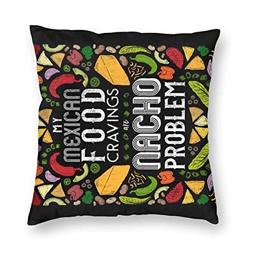 Lawenp Fundas de Almohada cuadradas, 18 'x 18' My Mexican Food Addiction is Nacho Problem Punny Tea Towel para Taco + Burrito Lovers_138 Fundas de cojín Decorativas para sofá, sofá, decoración del h