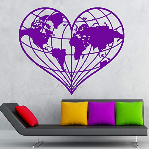 guijiumai EST Diseño Pegatinas de Pared En Forma de corazón Mapa del Mundo Tierra Geografía Paz Vinilo Calcomanía Extraíble Mural Sofá Fondo Decoración L 4 70x56cm
