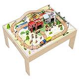 Teamson Kids Juguete De Tren De Madera para Niños con Mesa Y Pista (85 Piezas) (Brio Comp) PS-T0004
