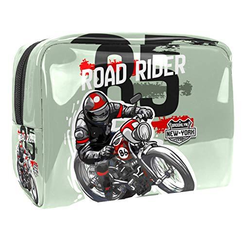 Makeup Bag Motorcycle Rider Travel Makeup Bag Cosmetic Cases Organizer Portable Storage Bag Toiletry Bag 18.5x7.5x13cm
