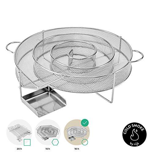 Riijk Generador de humo frío para ahumar en ahumador, barbacoa o ahumador – Generador de humo frío cuadrado M-Shape – Hornillo de bajo consumo para virutas de ahumado