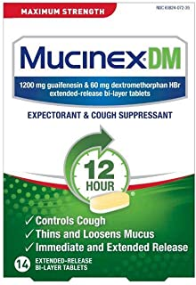 Cough Suppressant and Expectorant, Mucinex DM Maximum Strength 12 Hour Tablets, 14ct, 1200 mg Guaifenesin, Relieves Chest ...