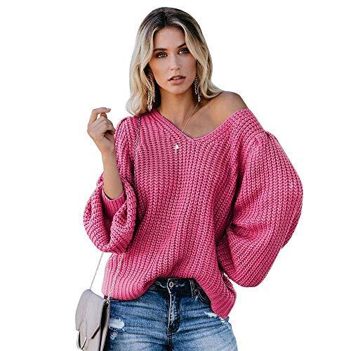 N-B Suéter de Manga de Linterna de suéter con Cuello en V de Color sólido sin Espalda Suelta para Mujer