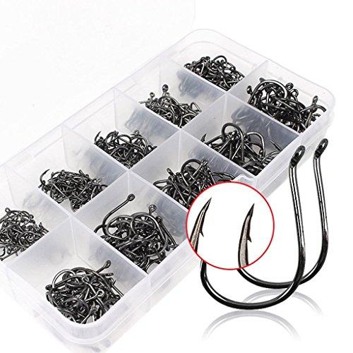 Feililong 500PCS Angelhaken aus Kohlenstoffstahl Fisch Jig Haken mit Loch Fishing Tackle Box 3# -12# 10 Größen
