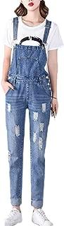 Women's Fashion Maternity Side Panel Skinny Ankle Length Denim Overalls