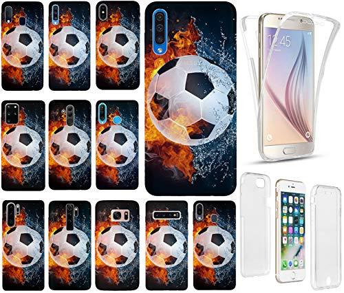 Hülle für Samsung Galaxy S9 Handyhülle Motiv 1152 Fußball Fussball Weiß Schwarz Orange Premium Hülle Silikon Fullbody 360 Grad Rundum SchutzHülle Softcase HandyCover Hülle für Samsung Galaxy S9