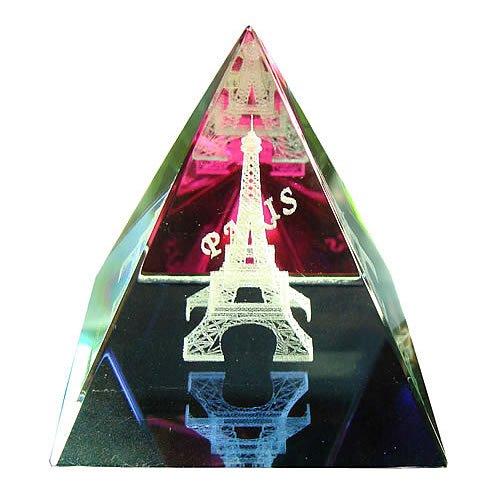 Souvenirs de France - Pyramide Tour Eiffel Irisée - Transparent (5 x 5 x 5 cm)