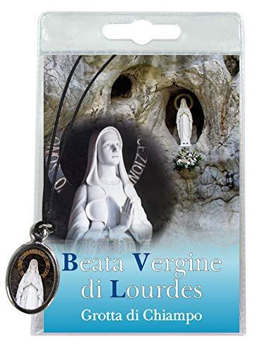 Ferrari & Arrighetti Medalla de la Virgen de Lourdes con cordón y oración en Italiano