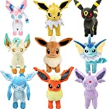 Eevee Evolutions Plush Pack 9: Eevee Espeon Glaceon Umbreon Sylveon Vaporeon Jolteon Leafeon Flareon Plush Toy Stuffed Animals for Child